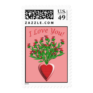 Tractor Bouquet with Red Heart Vase Postage