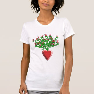 Tractor Bouquet with Red Heart Vase T-Shirt
