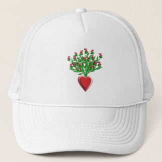 Tractor Bouquet with Red Heart Vase Trucker Hat