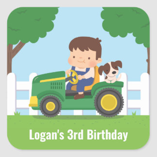 Tractor Boy and Dog Farm Kids Birthday Party Decor Square Sticker