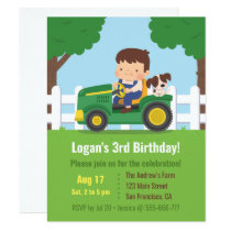 Tractor Boy and Puppy Farm Kids Birthday Party Invitation