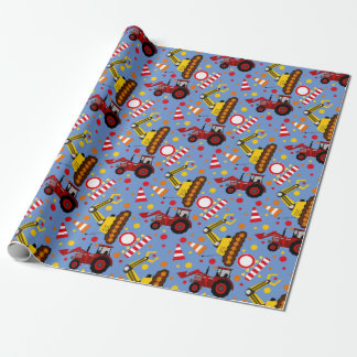 Tractor bulldozer construction polka dot wrapping paper