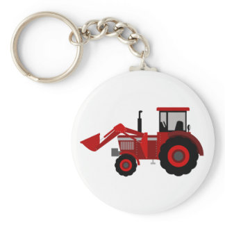 Tractor Button Keychain