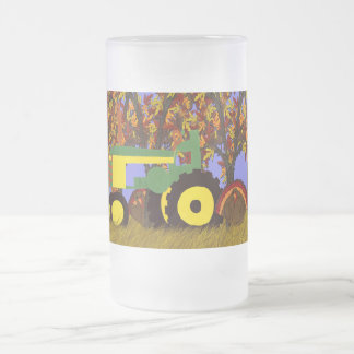 Tractor by Autumn Trees and Turkeys 1 Frosted Glass Beer Mug