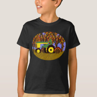 Tractor by Autumn Trees and Turkeys 1 T-Shirt
