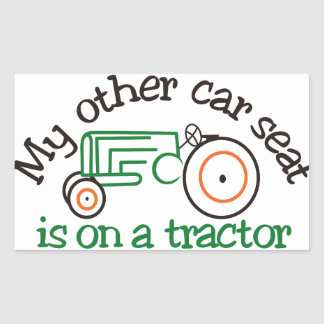 Tractor Car Seat Rectangular Sticker