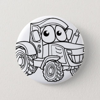 Tractor Cartoon Character Button