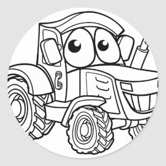 Tractor Cartoon Character Classic Round Sticker