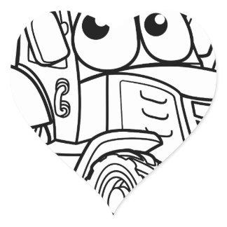 Tractor Cartoon Character Heart Sticker