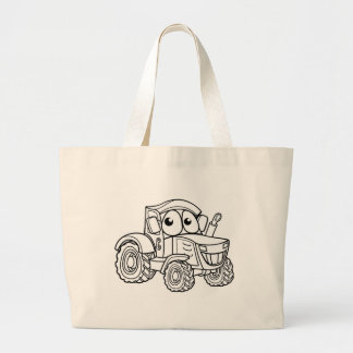 Tractor Cartoon Character Large Tote Bag