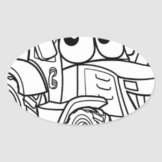 Tractor Cartoon Character Oval Sticker