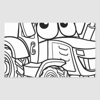 Tractor Cartoon Character Rectangular Sticker