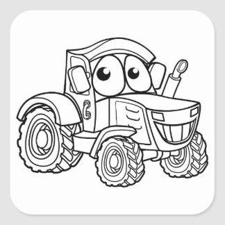 Tractor Cartoon Character Square Sticker