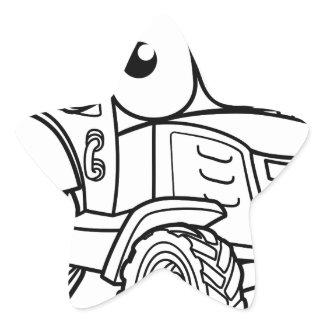 Tractor Cartoon Character Star Sticker