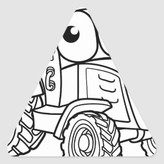 Tractor Cartoon Character Triangle Sticker