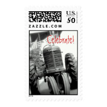 Tractor Celebration Party Invitation Stamp