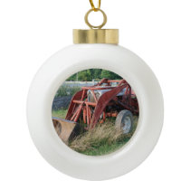 tractor ceramic ball christmas ornament