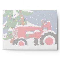 Tractor Christmas 5 x 7  Invitation Envelope
