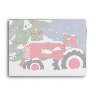 Tractor Christmas 5 x 7  Invitation Envelope