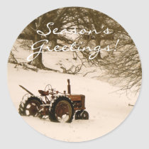 Tractor Christmas Card Envelope Seal