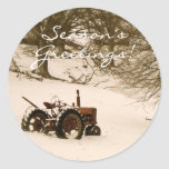 Tractor Christmas Card Envelope Seal Classic Round Sticker