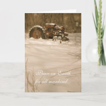 Tractor Christmas Card: Peace for all old tractors Holiday Card