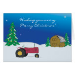 Tractor Christmas Card: Red Tractor Barn Scene