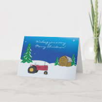 Tractor Christmas Card: Red Tractor Barn Scene Holiday Card