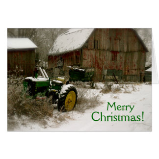 Tractor Christmas Card: Tractor & Cart Greeting Card