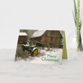 Tractor Christmas Card: Tractor & Cart Holiday Card