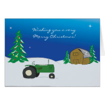 Tractor Christmas Card: Winter Barn Scene Card