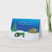 Tractor Christmas Card: Winter Barn Scene Holiday Card