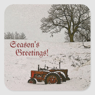 Tractor Christmas Envelope Seal