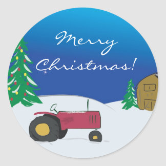 Tractor Christmas Envelope Seal: Red Tractor Classic Round Sticker