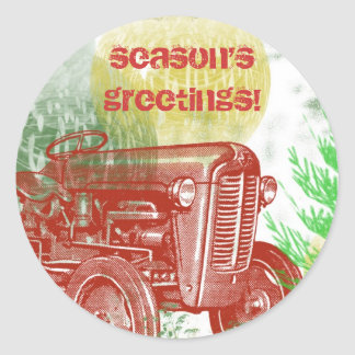 Tractor Christmas Envelope Seal: Retro Style Classic Round Sticker