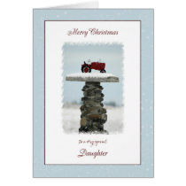 Tractor Christmas for Daughter Card