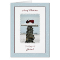 Tractor Christmas for Friend Card