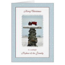 Tractor Christmas for Nephew and Family Card