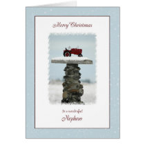 Tractor Christmas for Nephew Card