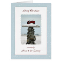 Tractor Christmas for Niece and Family Card