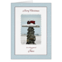 Tractor Christmas for Niece Card