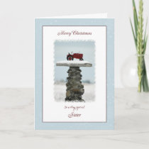 Tractor Christmas for Sister Holiday Card