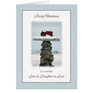 Tractor Christmas for Son and Daughter in Law Card