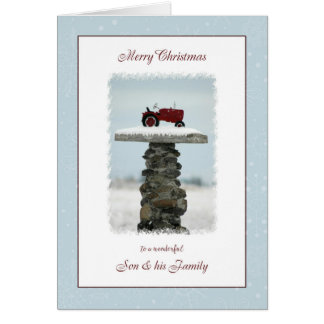 Tractor Christmas for Son and Family Card