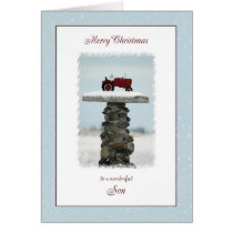 Tractor Christmas for Son Card