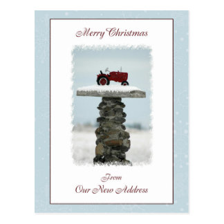 Tractor Christmas From Our New Address Postcard