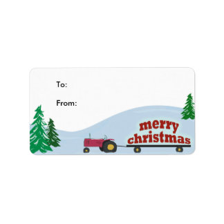 Tractor Christmas Gift Label