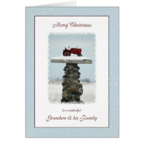 Tractor Christmas Grandson and Family Card