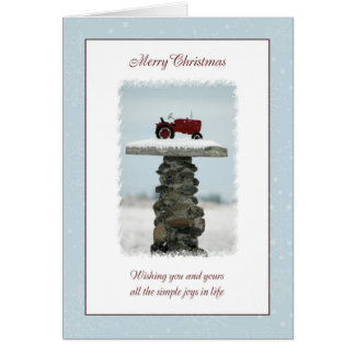 Tractor Christmas Greeting Card