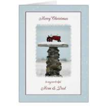 Tractor Christmas Mom and Dad Card
